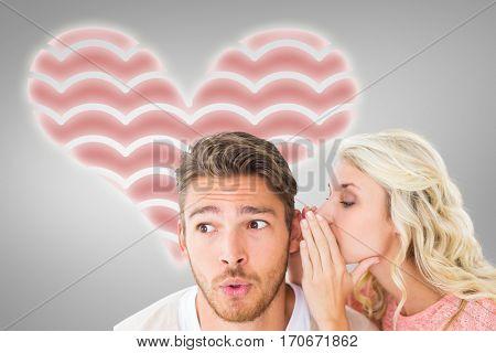 Attractive blonde whispering secret to boyfriend against grey vignette