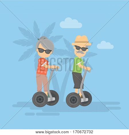 Old couple on segway. Healthy lifestyle. Technologies for all ages.