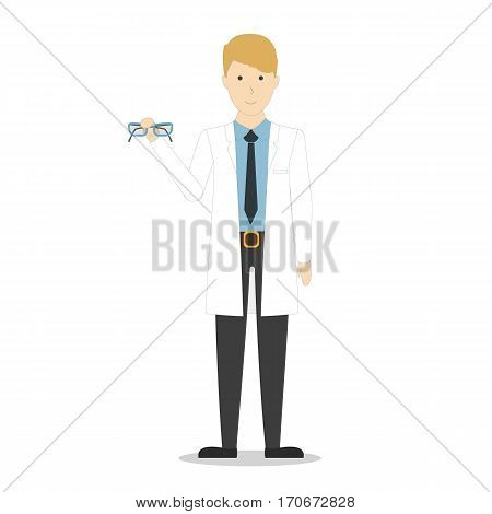Isolated optometrist doctor on white background. Man in white uniform. Checking eye sight.
