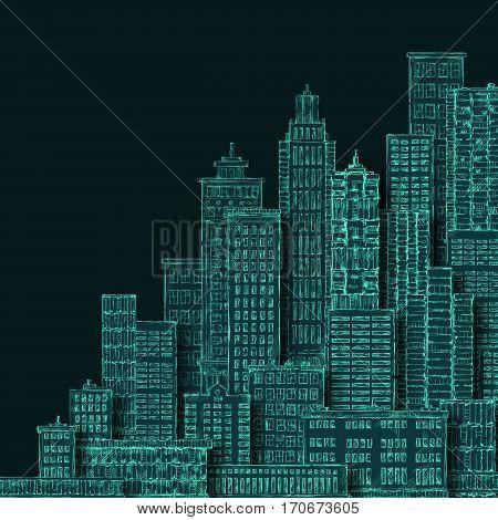 Cityscape Building Line Art Illustration