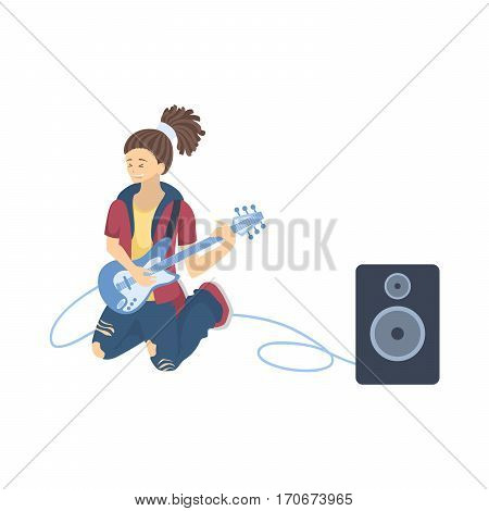 Isolated guitar player on white background. Cool singer and musician.