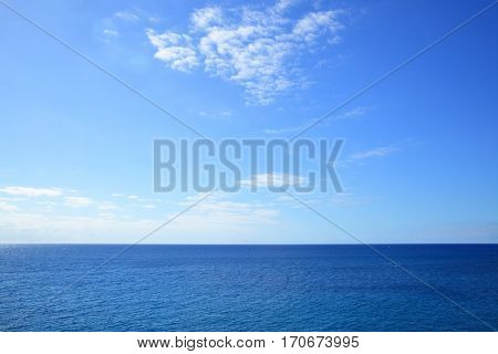 Atlantic ocean - beautiful seascape sea horizon and blue sky, natural photo background