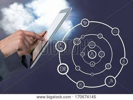 Close-up of man using digital tablet with digitally generated application icons