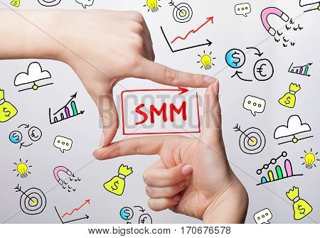 Technology, Internet, Business And Marketing. Young Business Woman Writing Word: Smm