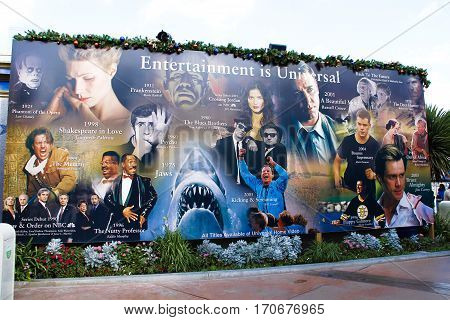 LOS ANGELES, CA/USA - OCT 29: Universal Studios Hollywood Wall Poster at Universal Studios HOLLYWOOD in USA in October, 29, 2014