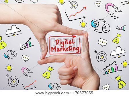 Technology, Internet, Business And Marketing. Young Business Woman Writing Word: Digital Marketing