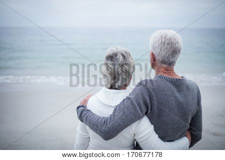 Rear view of senior couple embracing on beach on a sunny day