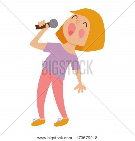 vector illustration of a cute singing girl on isolated background