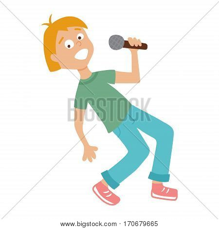vector illustration of a funny boy singing a song on isolated background