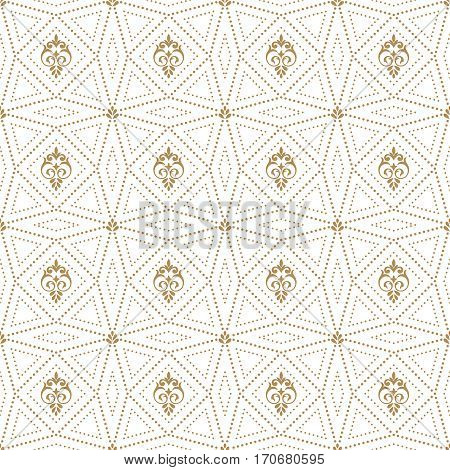Vector seamless pattern. Abstract small dotted textured background. Modern stylish texture. Regularly repeating stylish geometrical tiles with small dots rhombuses triangle polygons.