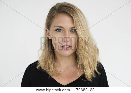 Woman Cheerful Studio Portrait Concept