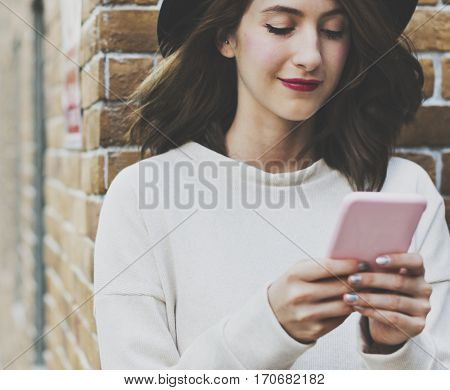 Woman Using Smart Phone Connection Techie