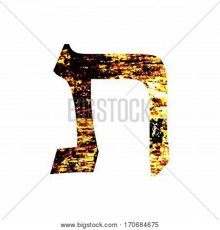 Hebrew letter Tav. Shabby gold font. The Hebrew alphabet.