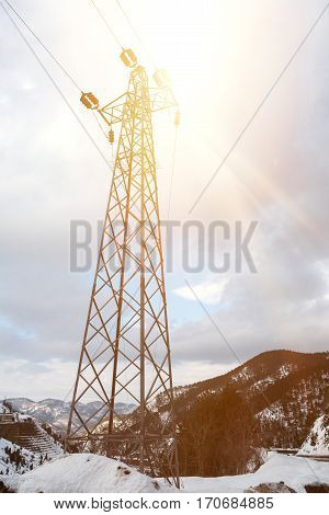 Electricity pole on mountain high quality and high resolution shoot