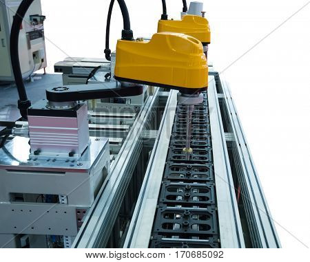 robot working in factory,Conveyor Tracking Controler of robotic hand isolated On White