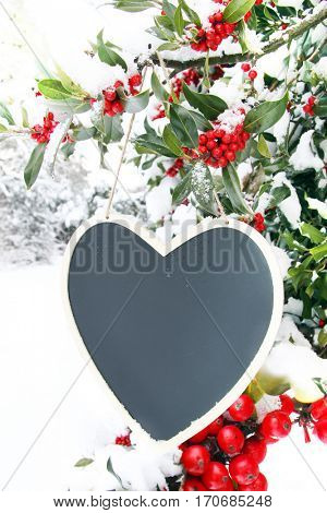 Valentine heart shaped chalk board outside surrounded by snow and red holly berries. Add your own text.