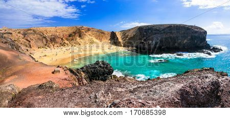 Beautiful beach Papagayo in Lanzarote. Canary islands, Spain