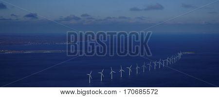 Aerial view of wind farm in Oresund strait near Copenhagen, Denmark