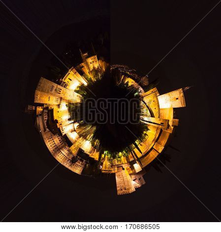 Little planet composition aerial view on top of a fortified city with fortress and towers, in a night sky