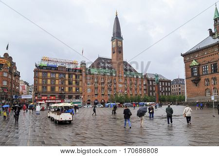 COPENHAGEN, DENMARK - JUNE 29, 2016: Scandic Palace Hotels is one of the buildings of the architectural ensemble of the city center - the Town Hall Square.