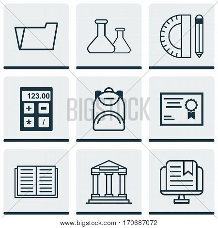 Set Of 9 School Icons. Includes Chemical, E-Study, Haversack And Other Symbols. Beautiful Design Elements.