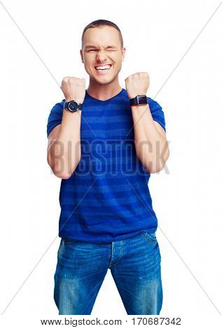 portrait of a happy smiling young man showing a gesture of success isolated against white background