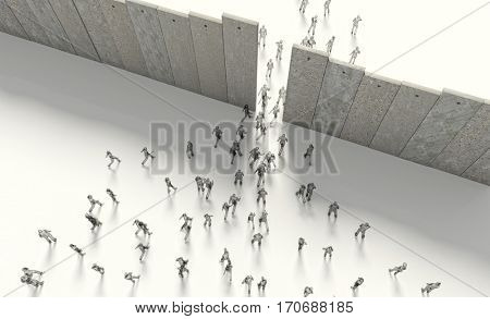 border barrier concept people 3d rendering image