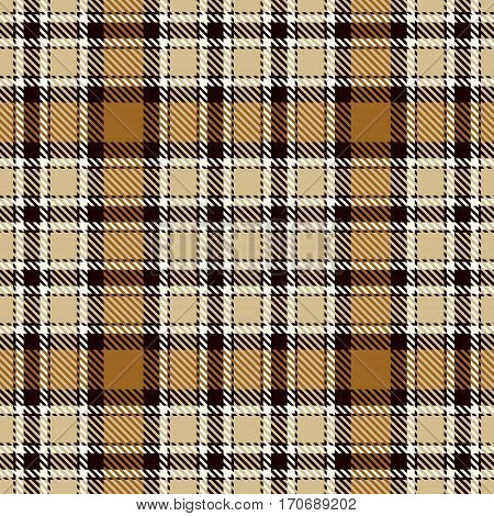 Tartan Seamless Pattern Background. Brown Black Camel Beige and White Plaid Tartan Flannel Shirt Patterns. Trendy Tiles Vector Illustration for Wallpapers.