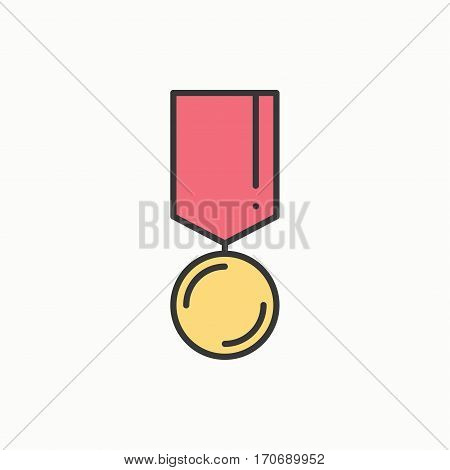 Gold medal award with ribbon. Winner line icon. First place leadership champion achievement. 1st place. Vector isolated illustration. Linear flat design. Success symbols. Object. Sign.