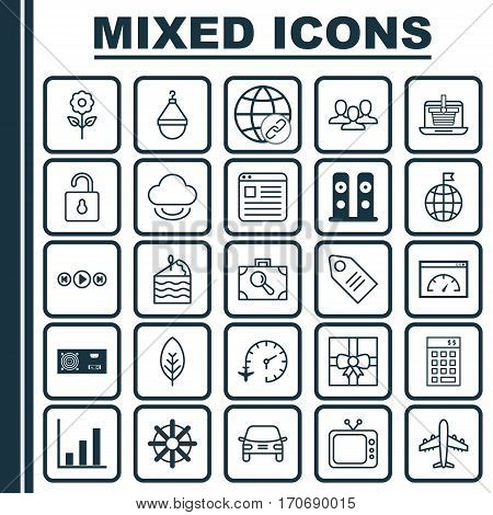 Set Of 25 Universal Editable Icons. Can Be Used For Web, Mobile And App Design. Includes Elements Such As Power Generator, Airliner, Gift Surprise And More.