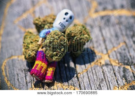 Detail of dried cannabis buds (Death Bubba strain) over wood pattern - medical marijuana concept background