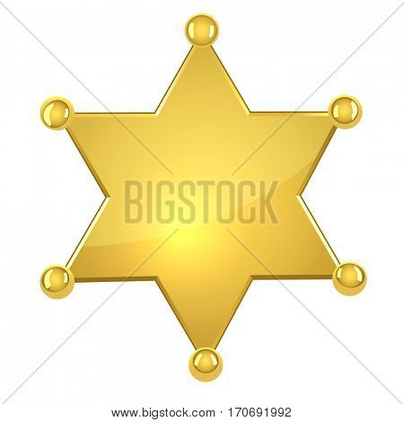 Blank golden sheriff star isolated on white background. Raster copy.