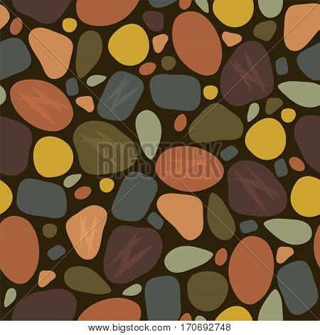 vector abstract seamless pattern with sea stones pebbles