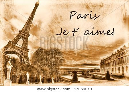 Vintage view of Paris. Grunge background poster