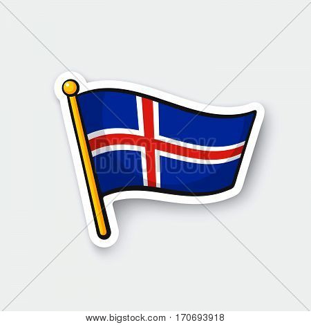 Vector illustration. Flag of Iceland on flagstaff. Location symbol for travelers. Cartoon sticker with contour. Decoration for greeting cards posters patches prints for clothes emblems