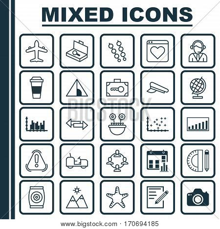 Set Of 25 Universal Editable Icons. Can Be Used For Web, Mobile And App Design. Includes Elements Such As Camera, Presentation Date, Company Statistics And More.
