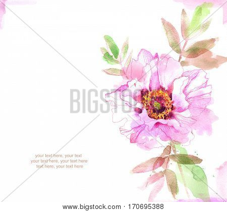 Painted watercolor card with peony and place for text.