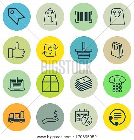 Set Of 16 Ecommerce Icons. Includes E-Trade, Identification Code, Recurring Payements And Other Symbols. Beautiful Design Elements.