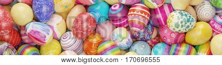 Panorama background with many colorful easter eggs (3D Rendering)