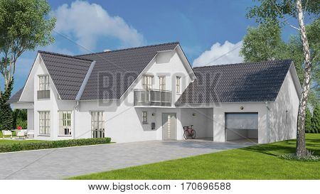 New white single family home with garage and a carport (3D Rendering)