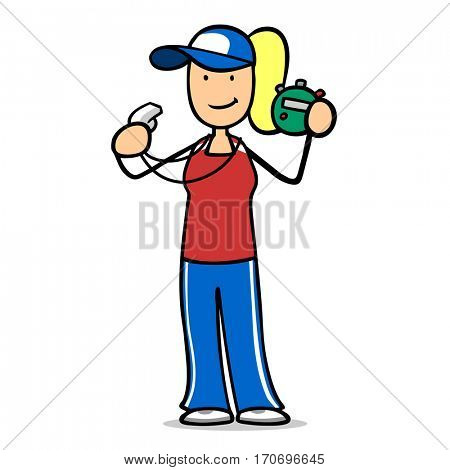 Cartoon woman as personal fitness trainer with whistle and stopwatch