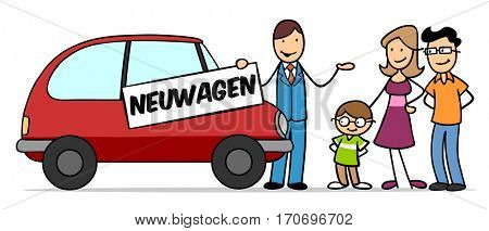 Cartoon family buying new car with German sign