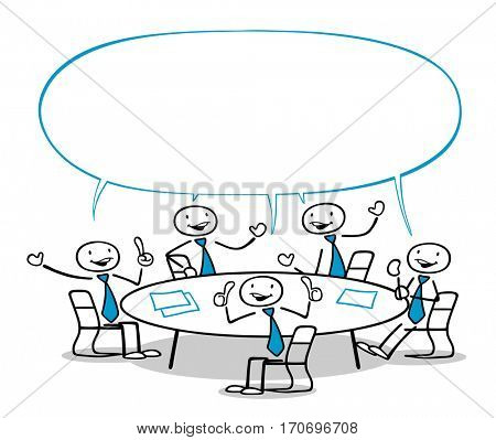 Big empty speech bubble over group of business people at a round table