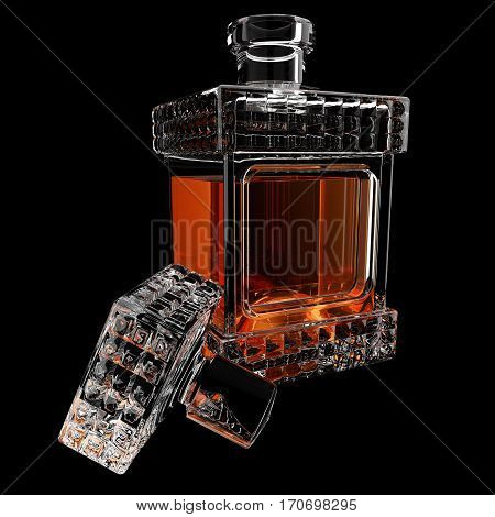 Decanter with whiskey on black background. 3D render