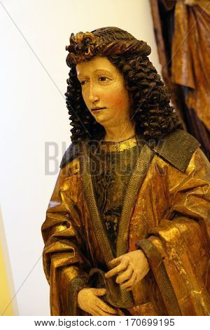 ZAGREB, CROATIA - JUNE 18: Saint Lawrence of Rome, around 1490, the parish church of St. Vitus in Vrbovec, exhibited in the Museum of Arts and Crafts in Zagreb, on June 18, 2015.