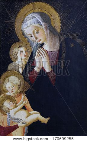 ZAGREB, CROATIA - DECEMBER 08: Pseudo Pier Francesco Fiorentino: Virgin and Child, of St. John and the angel, Old Masters Collection, Croatian Academy of Sciences, December 08, 2014 in Zagreb, Croatia