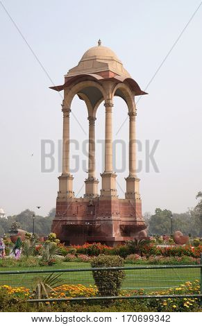 DELHI, INDIA - FEBRUARY 13: Canopy of George V at India Gate on February 13, 2016, Delhi, India.