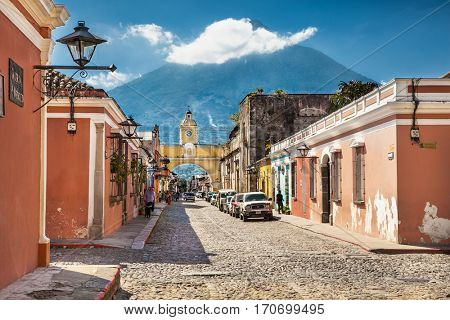 ANTIGUA; GUATEMALA - DEC 23, 2015 : Street view of Antigua  on Dec 23,  2015, Guatemala.  The historic city Antigua is UNESCO World Heritage Site since 1979.
