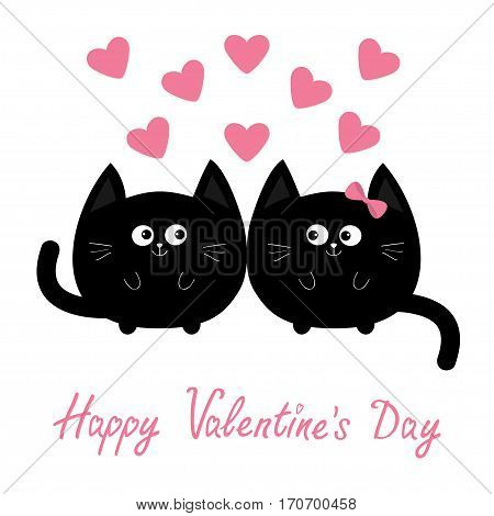Valentines Day. Round shape black cat icon. Love family couple. Pink heart Cute cartoon character. Kawaii animal. Happy emotion. Kitty kitten Baby pet collection. White background Isolated Flat Vector