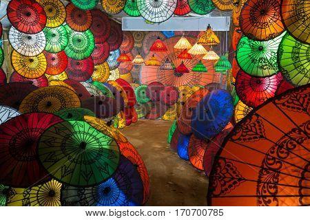 Traditional Burmese umbrellas shop exhibition in Myanmar
